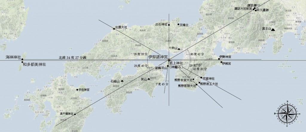 伊弉諾神宮レイライン図